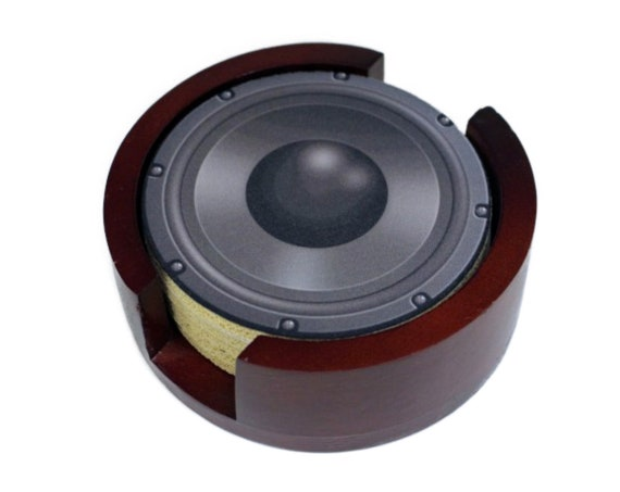 Black Music Loudspeaker Round Coaster Set of 5 with Wood Holder