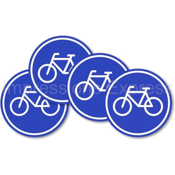 Bicycle Sign Round Drinks Coasters - Set of Four