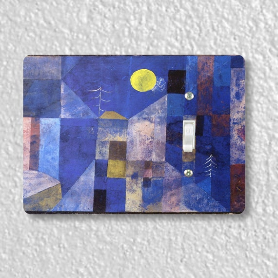 Precision Laser Cut Toggle And Decora Rocker Light Switch Plate Covers - Paul Klee Moonlight Painting - Home Decor - Wallplates