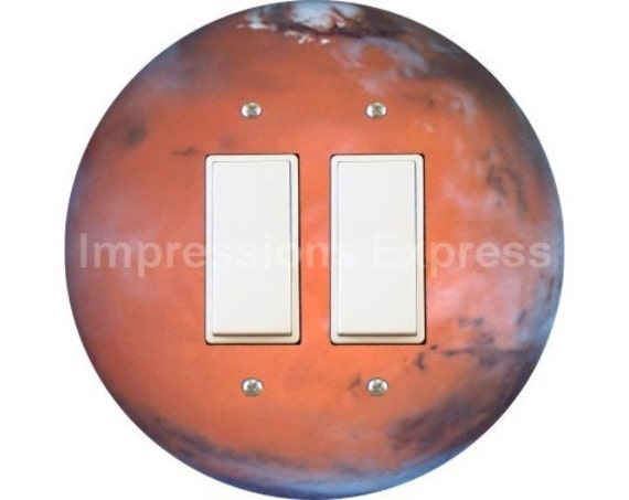 Red Planet Mars Space Decora Double Rocker Switch Plate Cover