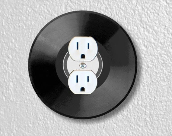 Vinyl Record Round Duplex Outlet Plate Cover