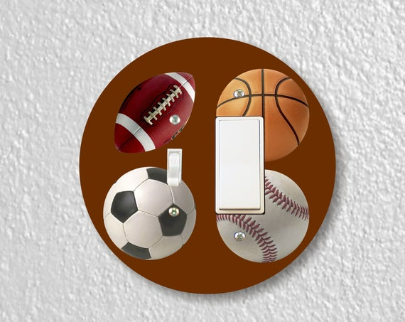 Sport Ball Precision Laser Cut Toggle and Decora Rocker Round Light Switch Plate Cover