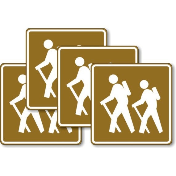 Hiking Road Sign Square Coasters - Set of 4