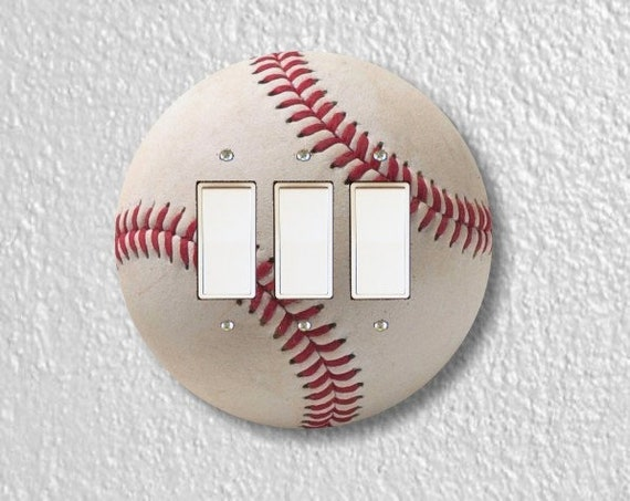 White Baseball Round Triple Decora Rocker Light Switch Plate Cover