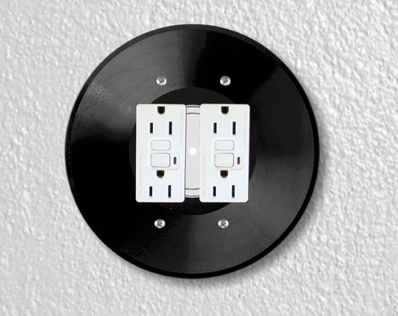 Vinyl Record Round Double GFI Grounded Outlet Plate Cover
