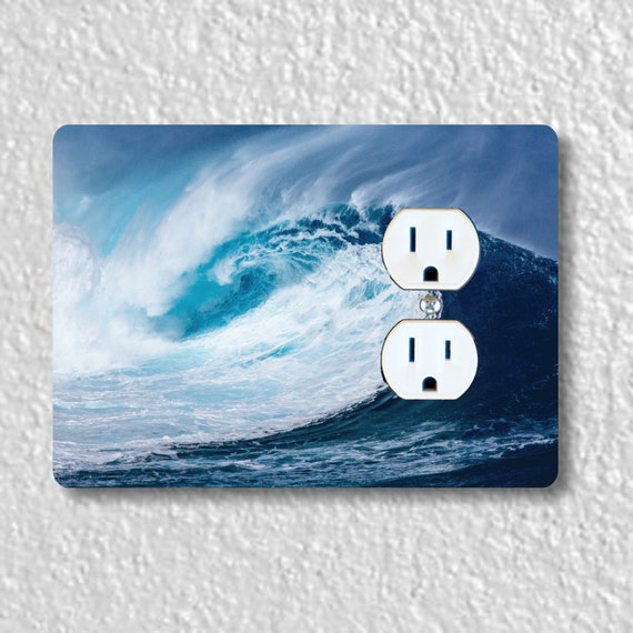 Pacific Ocean Wave Precision Laser Cut Duplex and Grounded Outlet Wall Plate Covers