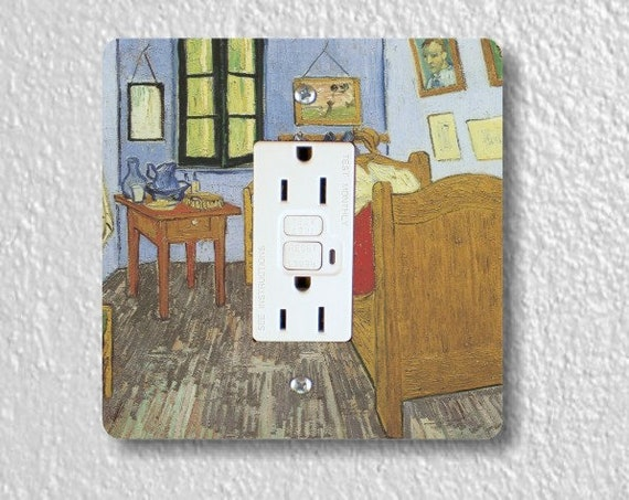 Vincent Van Gogh The Bedroom Painting Square Grounded GFI Outlet Plate Cover