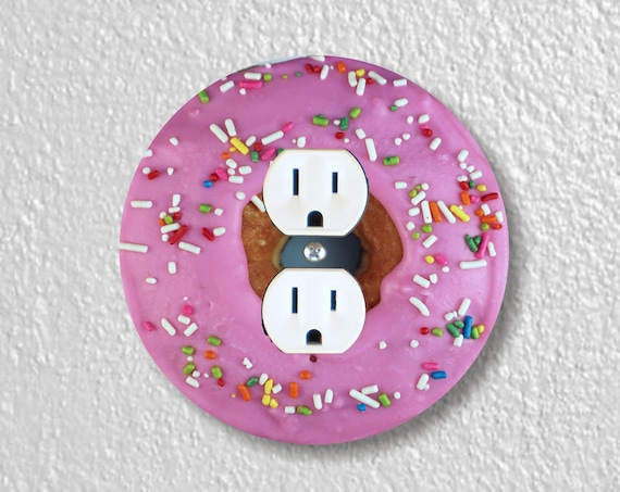 Pink Doughnut Precision Laser Cut Duplex and Grounded Outlet Round Wall Plate Covers