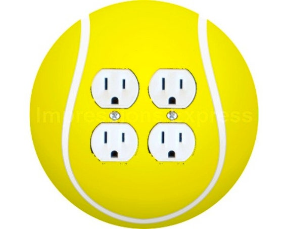 Tennis Ball Double Duplex Outlet Plate Cover
