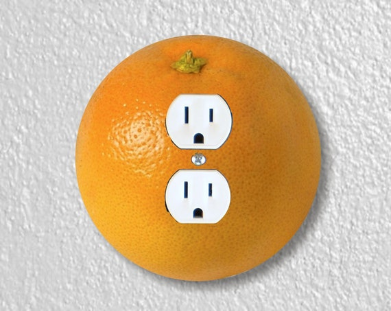 Orange Fruit Precision Laser Cut Duplex and Grounded Outlet Round Wall Plate Covers