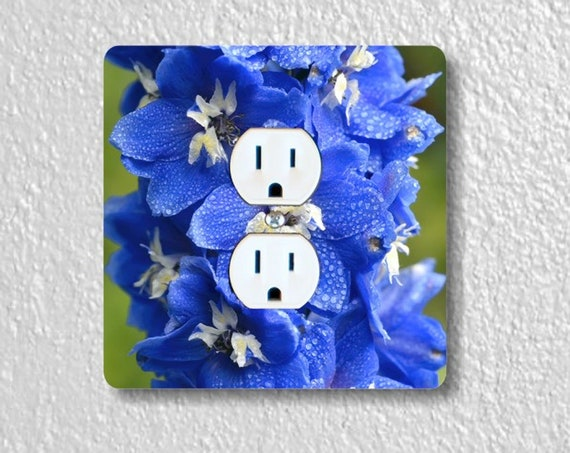 Larkspur Flower Precision Laser Cut Duplex and Grounded Outlet Square Wall Plate Covers