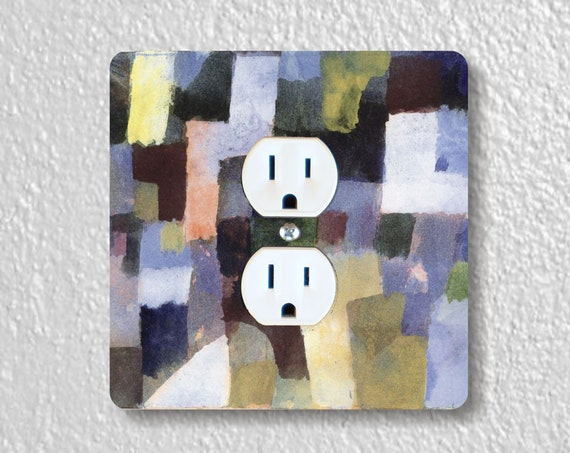 Paul Klee Painting Precision Laser Cut Duplex and Grounded Outlet Square Wall Plate Covers