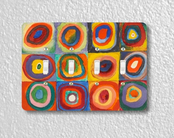 Kandinsky Squares With Concentric Circles Painting Quadruple  Toggle Light Switch Plate Cover