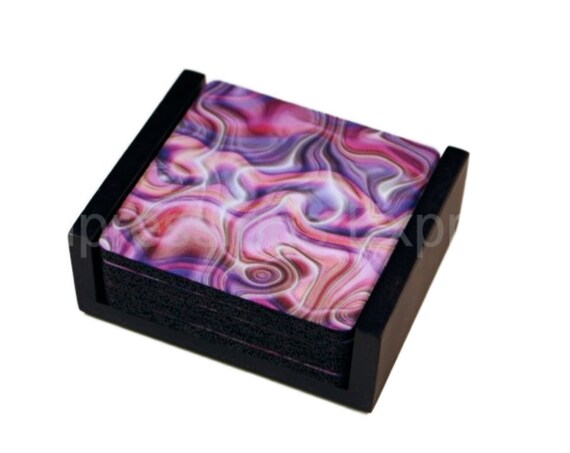 Purple Silk Ripple Square Coaster Set of 5 with Wood Holder