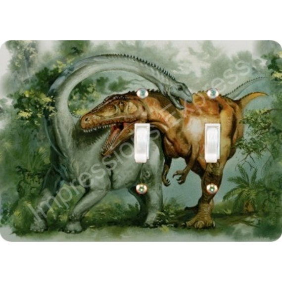 Rebbachisaurus and Giganotosaurus Dinosaur Double Toggle Light Switch Plate Cover
