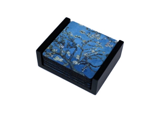 Vincent Van Gogh Almond Branches Painting Coaster Set of 5 with Wood Holder