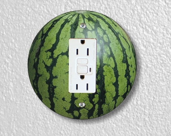 Watermelon Fruit Round GFI Grounded Outlet Plate Cover