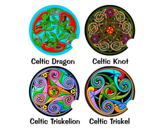 Triskel Triskelion Knot Dragon Round Sandstone Car Cupholder Coaster SET OF 2