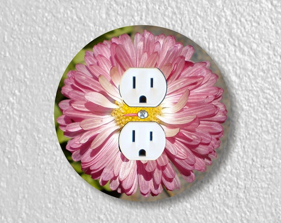 Pink Daisy Flower Precision Laser Cut Duplex and Grounded Outlet Round Wall Plate Covers