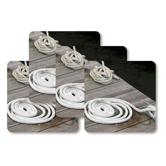 Nautical Tie Up Rope Square Coasters - Set of 4