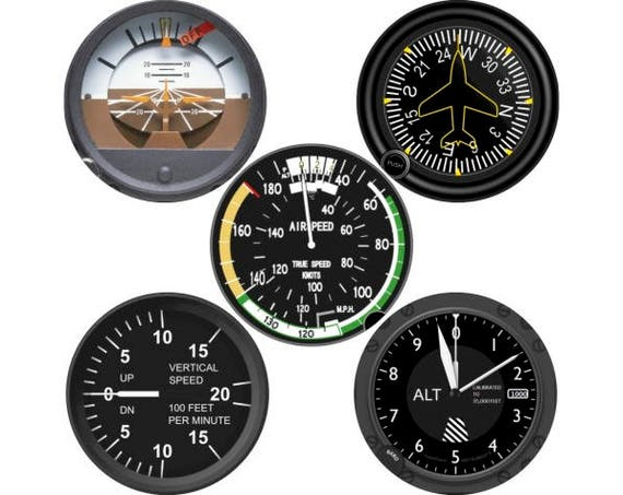Altimeter Airspeed Direction Vertical Speed Indicator Aviation Round Coaster Set of 5
