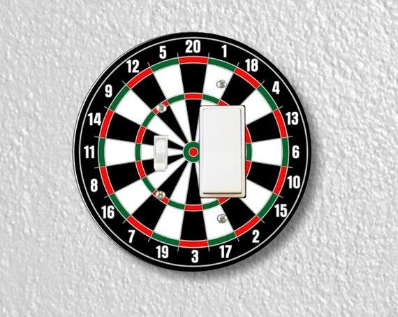 Darts Dartboard Precision Laser Cut Round Toggle and Decora Rocker Light Switch Wall Plate Cover