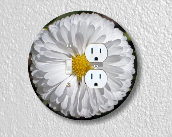 White Daisy Flower Precision Laser Cut Round Toggle Light Switch and Duplex Outlet Double Wall Plate Cover