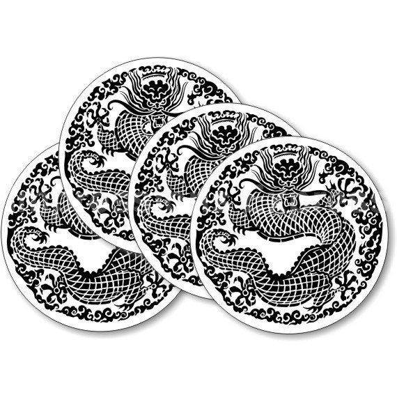 Oriental Dragon Round Coasters - Set of 4