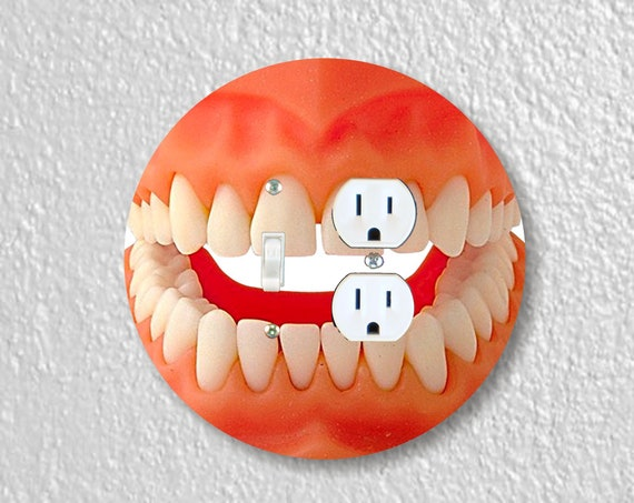 Teeth Precision Laser Cut Round Toggle Light Switch and Duplex Outlet Double Wall Plate Cover