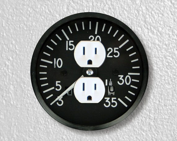 Tachometer Aviation Precision Laser Cut Duplex and Grounded Outlet Round Wall Plate Covers