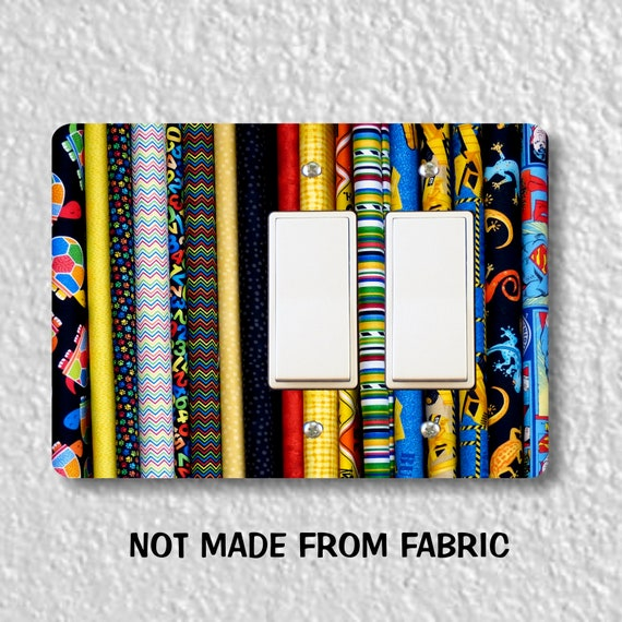 Quilt Fabric Double Decora Rocker Light Switch Plate Cover