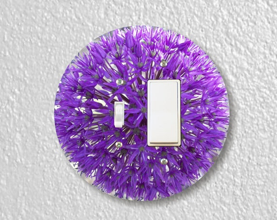 Purple Allium Flower Precision Laser Cut Round Toggle and Decora Rocker Light Switch Wall Plate Cover