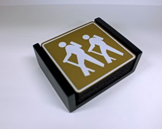 Hiking Road Sign Coaster Set of 5 with Wood Holder