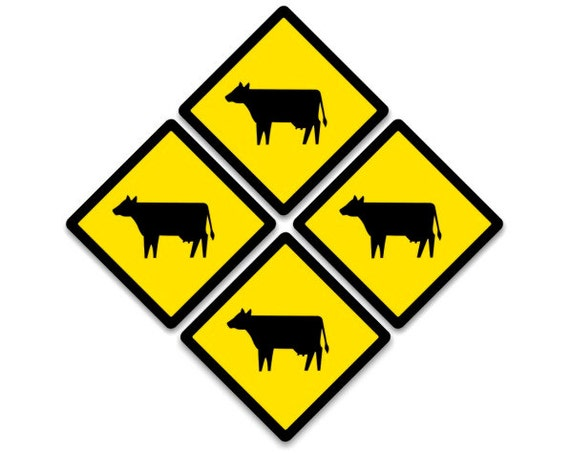 Cattle Crossing Sign Coasters - Set of 4