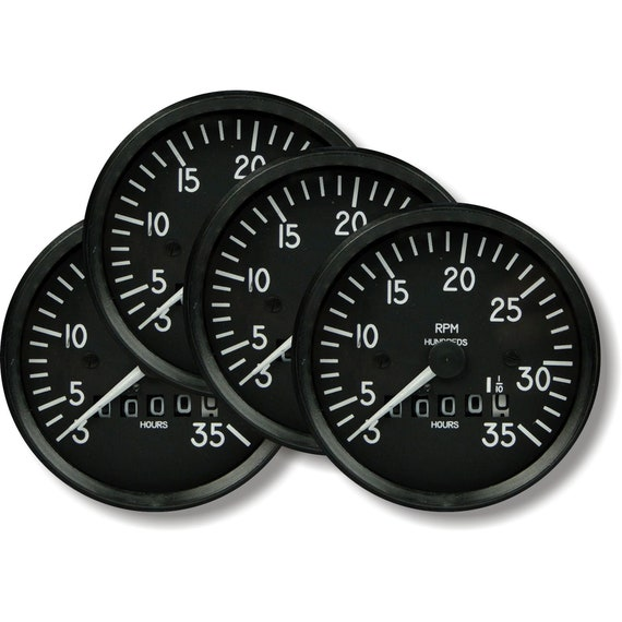 Tachometer Aviation Round Coasters - Set of 4