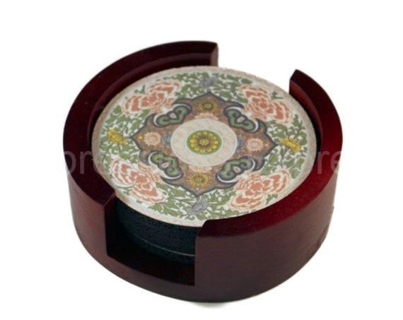 Chinese Ornament Round Coaster Set of 5 with Wood Holder