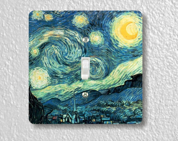 Vincent Van Gogh Starry Night - Precision Laser Cut Toggle and Decora Rocker Square Light Switch Plate Covers - Home Decor - Wall Plates