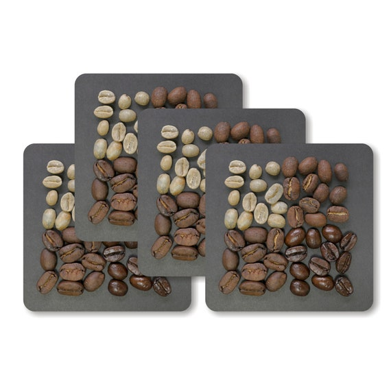 Coffee Beans Square Coasters - Set of 4