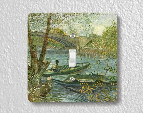 Vincent Van Gogh Fisherman and Boats from Pont de Clichy Precision Laser Cut Toggle and Decora Rocker Square Light Switch Wall Plate Covers