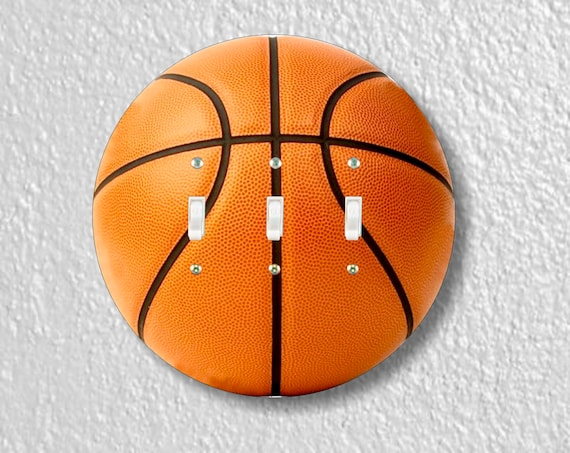 Burnt Orange Basketball Round Triple Toggle Light Switch Plate Cover