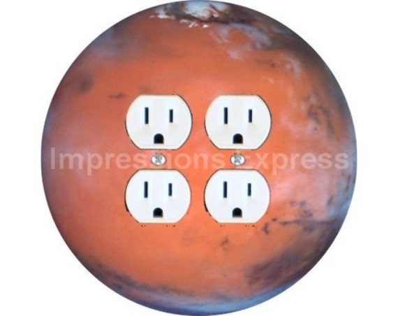 Red Planet Mars Space Double Duplex Outlet Plate Cover