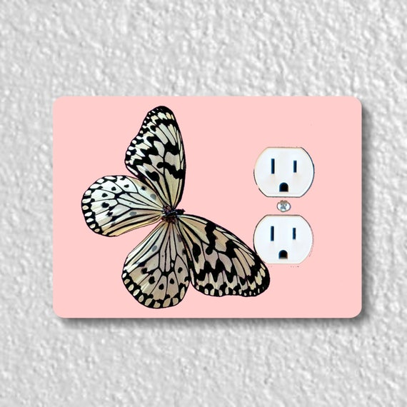 White Nymph Butterfly Pink Precision Laser Cut Duplex and Grounded Outlet Wall Plate Covers