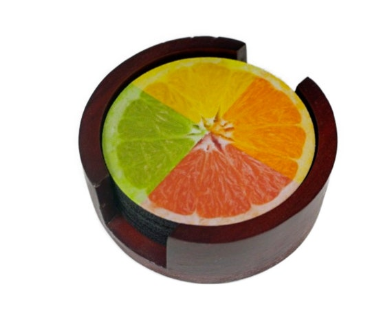 Funky Grapefruit Fruit Coaster Set of 5 with Wood Holder