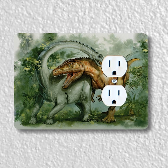 Precision Laser Cut Duplex And Grounded Outlet Plate Covers - Rebbachisaurus & Giganotosaurus Dinosaur - Home Decor - Wall Decor - Wallplate
