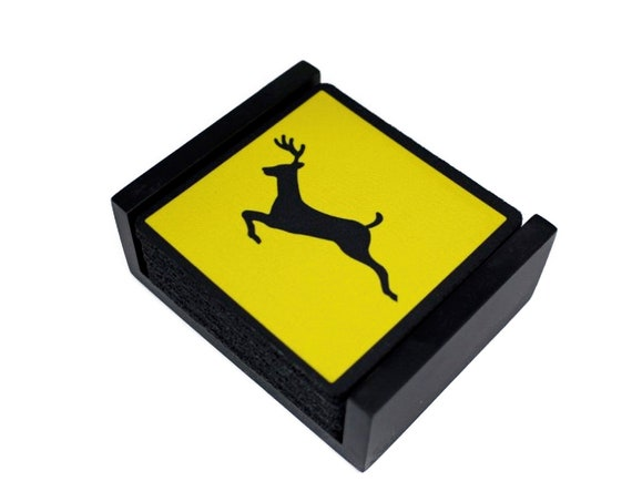Deer Crossing Sign Coaster Set of 5 with Wood Holder
