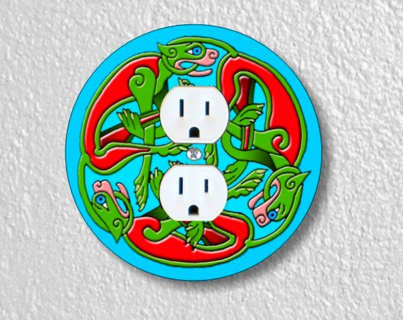 Celtic Dragon Round Duplex Outlet Plate Cover