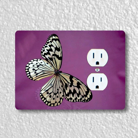 White Butterfly Insect Precision Laser Cut Duplex and Grounded Outlet Wall Plate Covers