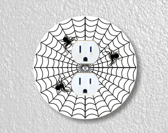 Spider Web Precision Laser Cut Duplex and Grounded Outlet Round Wall Plate Covers