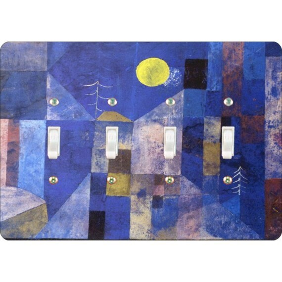Paul Klee Moonlight Painting Quadruple Toggle Light Switch Plate Cover