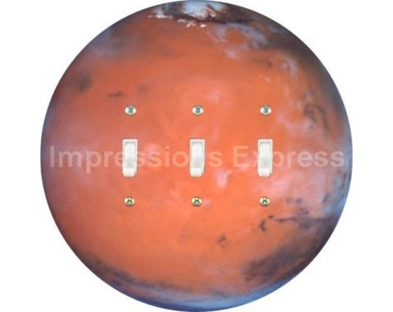 Red Planet Mars Space Triple Toggle Switch Plate Cover